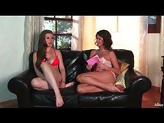 Chicks with beamy titties chat aloft the love-seat