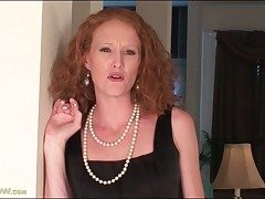Lean redhead milf disrobes off her little ebony dress