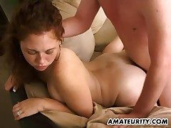 Red-hot amateur gf deep-throats and boinks at home