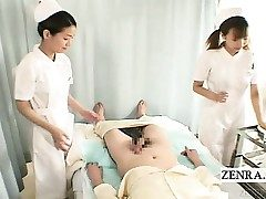 Subtitles CFNM 2 Chinese nurses hand job with cumshot