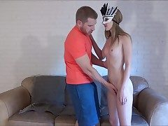 Youthful doll in mask fucked rock-hard