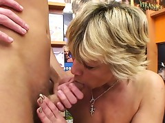 Sexy light-haired mature romps him in the video store