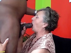 80 years old granny very first time interracial pounded
