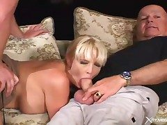 Cuckold photograph relative to wife blowjob added to hardcore sex